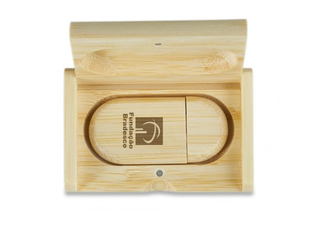 KIT PEN DRIVE BAMBU ESTOJO
